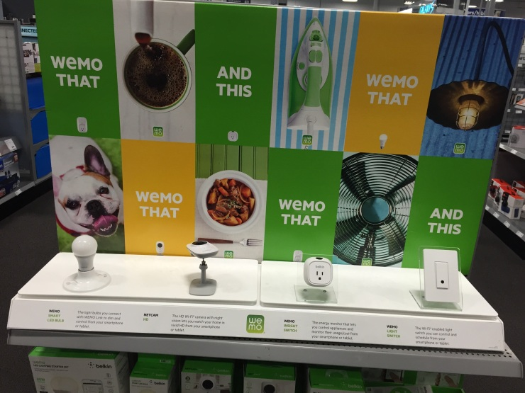 "Wemo ""this and that"" display in the Best Buy Connected Home department"